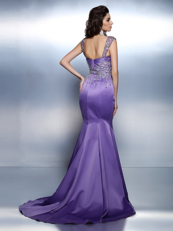 Exquisite Mermaid Sweetheart Sleeveless Long Satin Dress