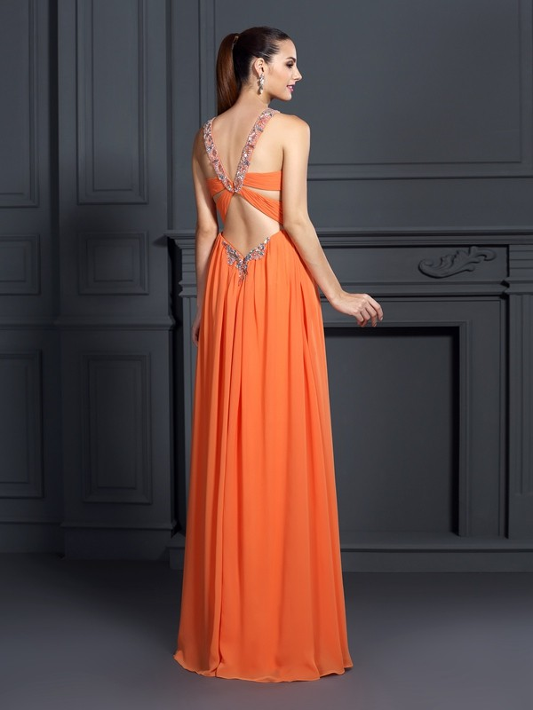 Exquisite A-Line Halter Sleeveless Long Chiffon Dress
