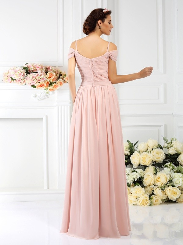 Exquisite A-Line Spaghetti Straps Sleeveless Long Chiffon Bridesmaid Dress