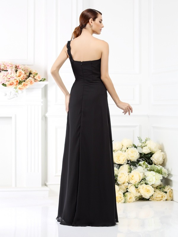 Exquisite Sheath One-Shoulder Sleeveless Long Satin Bridesmaid Dress