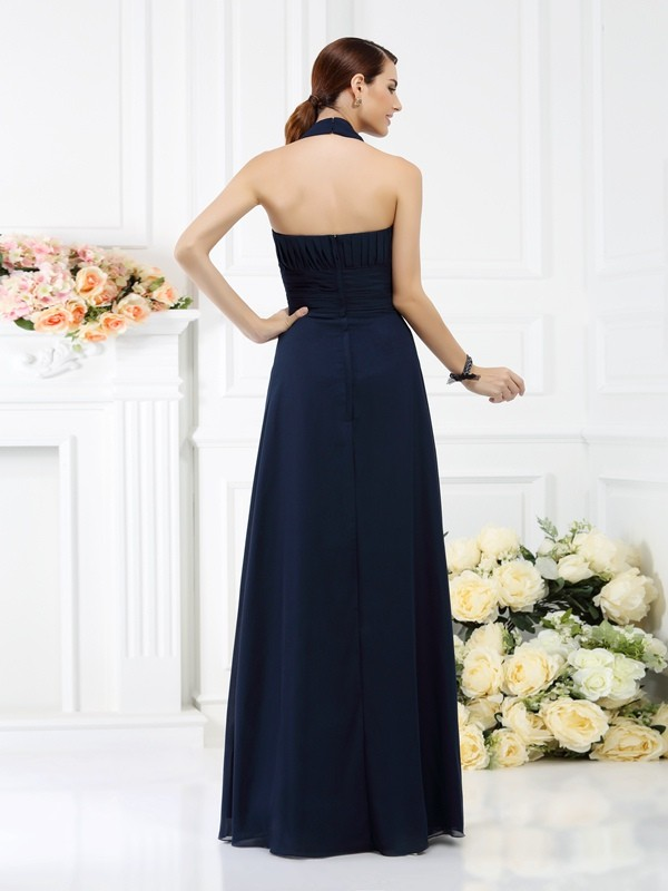Exquisite A-Line Halter Sleeveless Long Chiffon Bridesmaid Dress