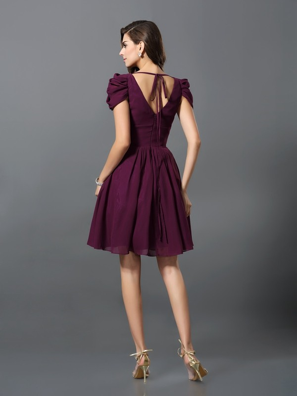Charming A-Line V-neck Short Sleeves Short Chiffon Bridesmaid Dress