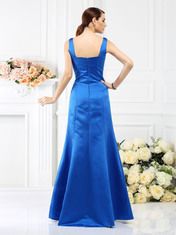 Charming Sheath Straps Sleeveless Long Satin Bridesmaid Dress