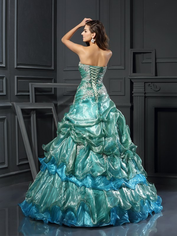 Charming Ball Gown Sweetheart Sleeveless Long Tulle Quinceanera Dress