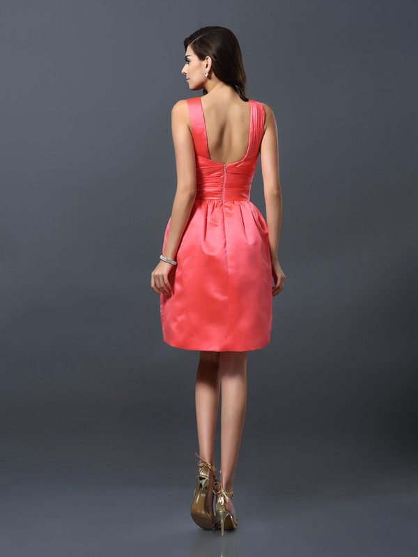Charming A-Line Bateau Sleeveless Short Satin Bridesmaid Dress