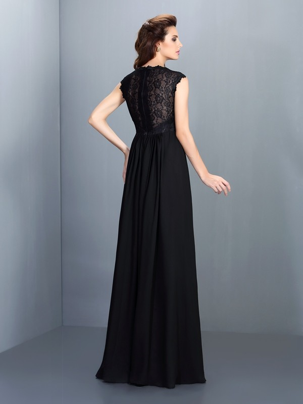 Charming A-Line Scoop Lace Sleeveless Long Chiffon Bridesmaid Dress