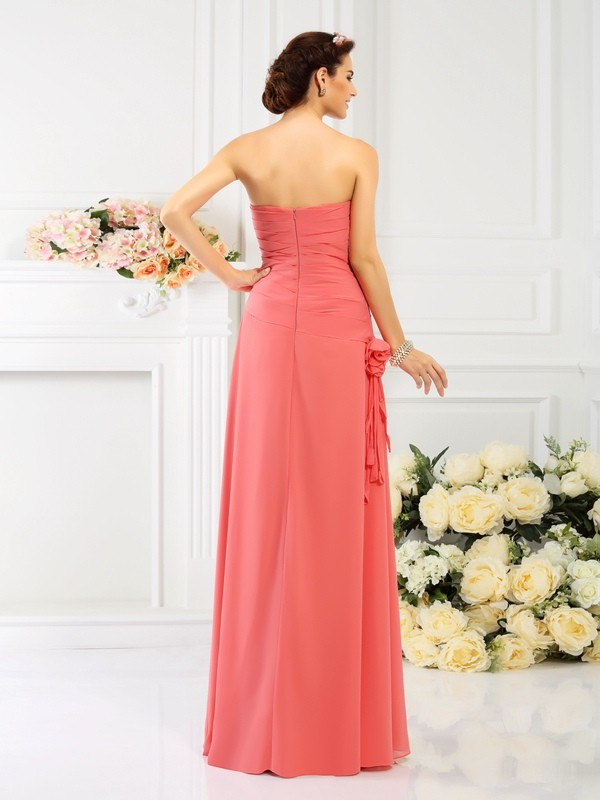 Charming Sheath Strapless Sleeveless Long Chiffon Bridesmaid Dress