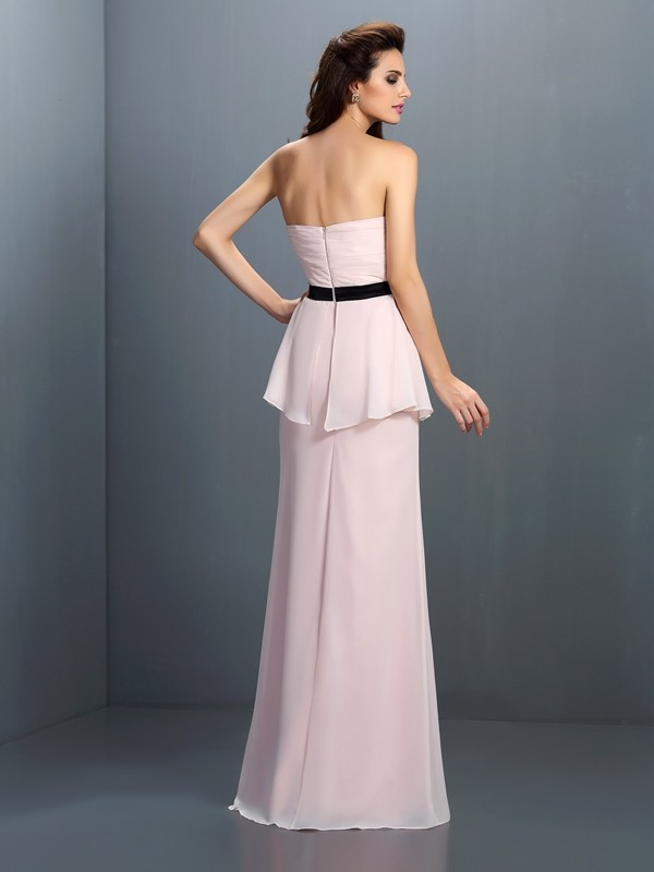 Charming Sheath Sweetheart Sleeveless Long Chiffon Bridesmaid Dress