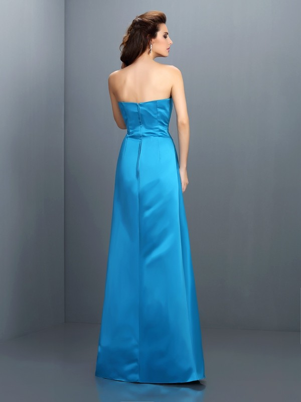 Charming A-Line Strapless Sleeveless Long Satin Bridesmaid Dress