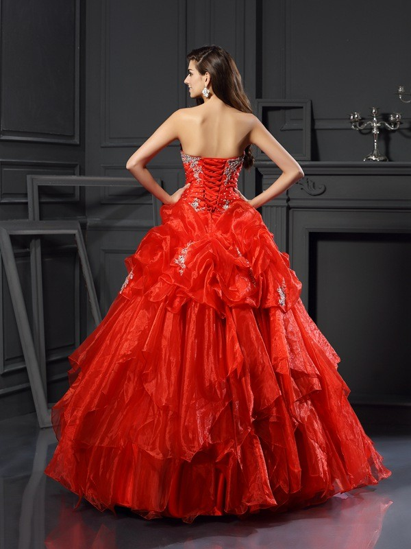 Classical Ball Gown Sweetheart Sleeveless Long Tulle Quinceanera Dress