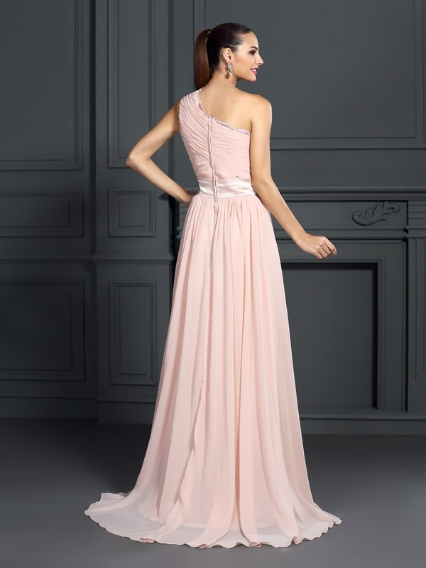 Classical A-Line One-Shoulder Sleeveless Long Chiffon Dress