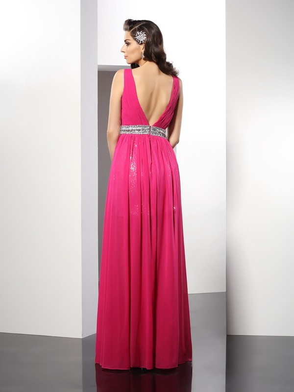 Classical A-Line V-neck Sleeveless Long Chiffon Dress
