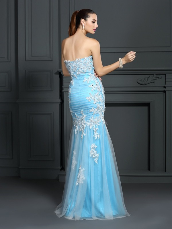 Classical Mermaid Strapless Sleeveless Long Elastic Woven Satin Dress