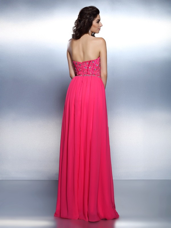 Classical A-Line Sweetheart Sleeveless Long Chiffon Dress