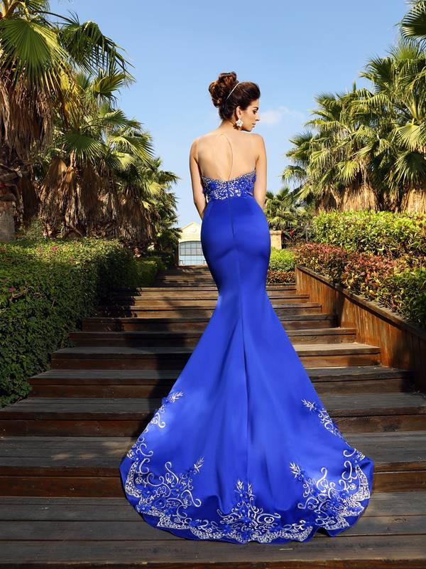 Classical Mermaid Sweetheart Sleeveless Long Satin Dress