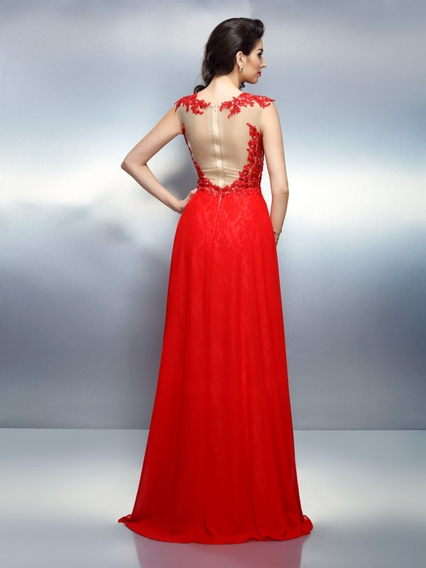 Classical A-Line Bateau Sleeveless Long Net Dress