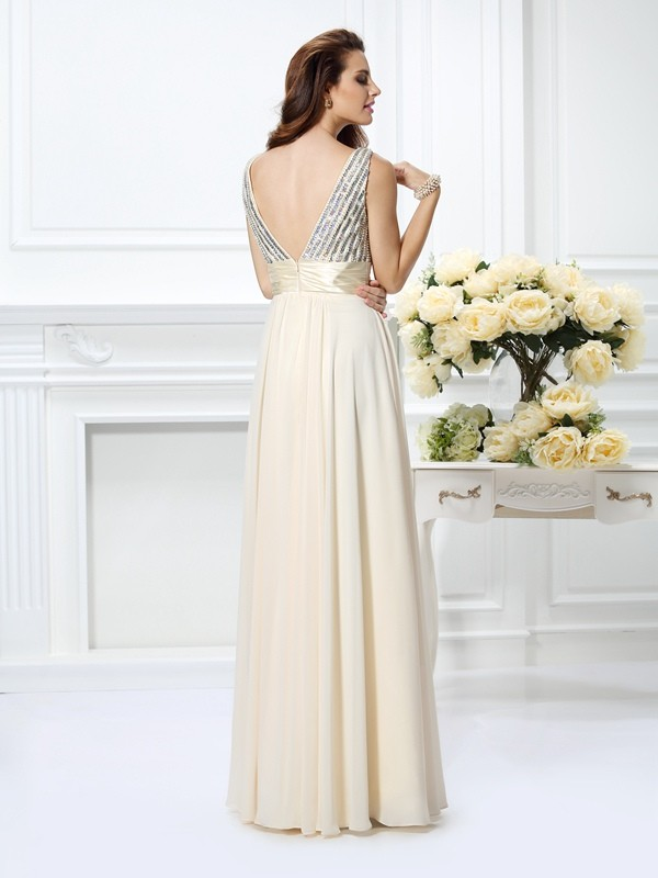 Classical A-Line Straps Sleeveless Long Chiffon Dress