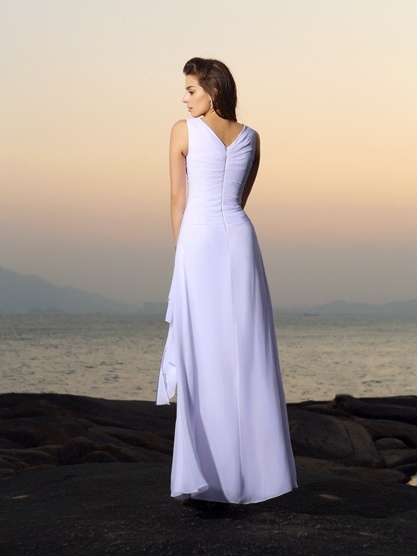 Fancy A-Line V-neck Sleeveless Long Chiffon Beach Wedding Dress