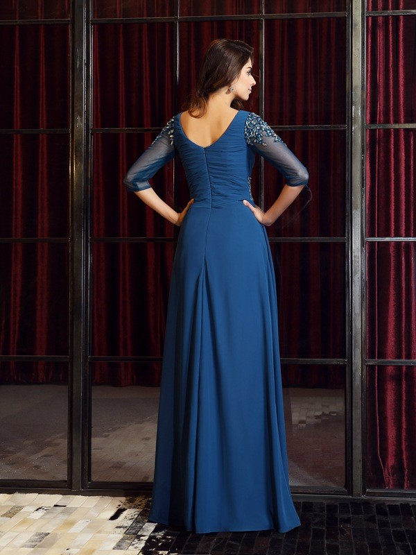Gorgeous A-Line Square 1/2 Sleeves Long Chiffon Dress
