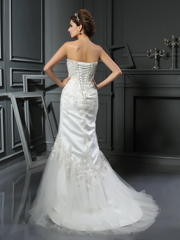 Gorgeous Mermaid Straps Sleeveless Long Satin Wedding Dress