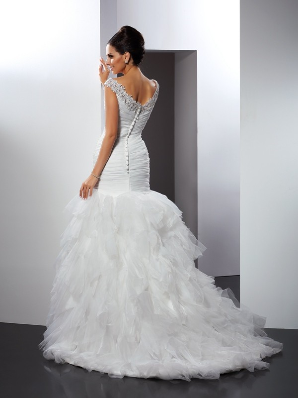 Gorgeous Mermaid V-neck Sleeveless Long Tulle Wedding Dress