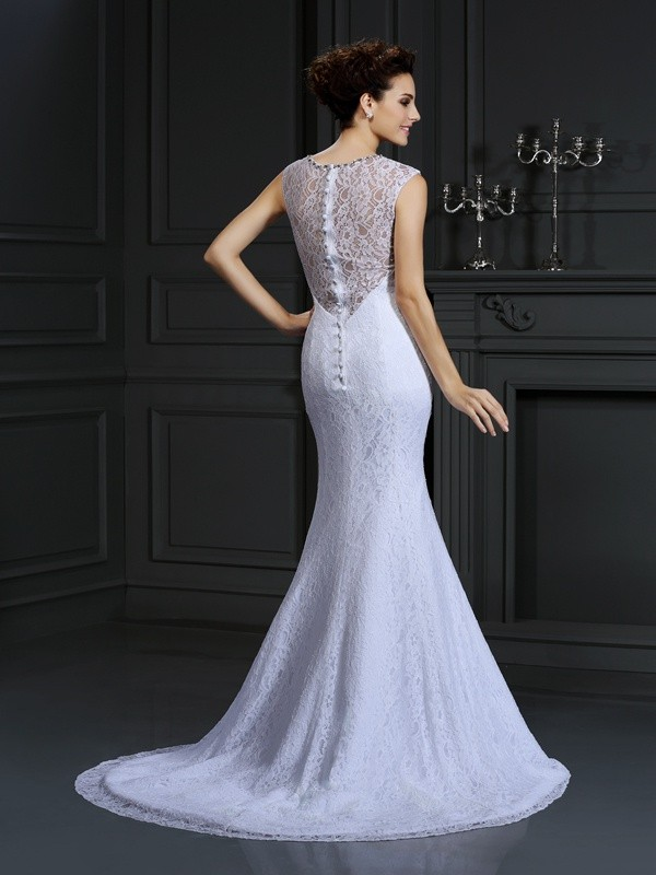 Gorgeous Sheath V-neck Lace Sleeveless Long Satin Wedding Dress