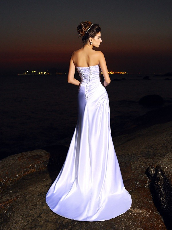 Gorgeous Mermaid Sweetheart Sleeveless Long Elastic Woven Satin Beach Wedding Dress