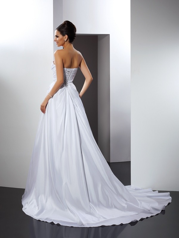 Gorgeous A-Line Sweetheart Sleeveless Long Taffeta Wedding Dress