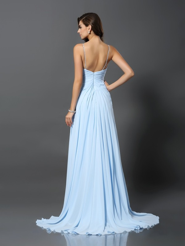 Gorgeous A-Line Spaghetti Straps Sleeveless Long Chiffon Dress