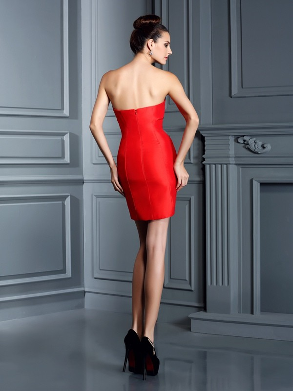 Gorgeous Sheath Sweetheart Sleeveless Short Taffeta Cocktail Dress