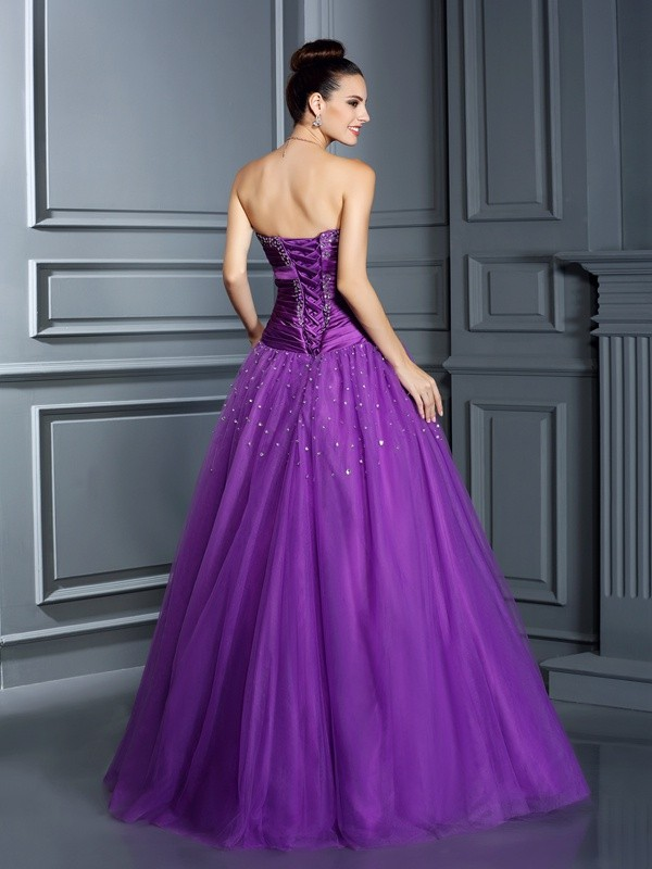 Gorgeous Ball Gown Strapless Sleeveless Long Taffeta Quinceanera Dress