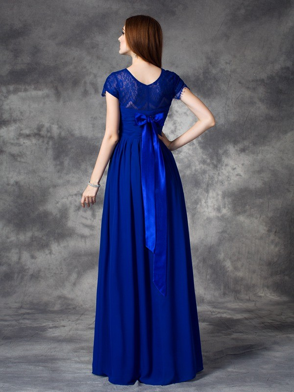 Unique A-Line Bateau Lace Sleeveless Long Chiffon Bridesmaid Dress