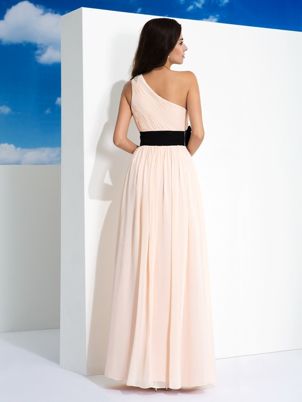 Unique A-Line One-Shoulder Sleeveless Long Chiffon Dress