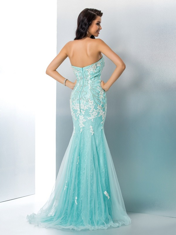 Nice Mermaid Strapless Sleeveless Long Lace Dress