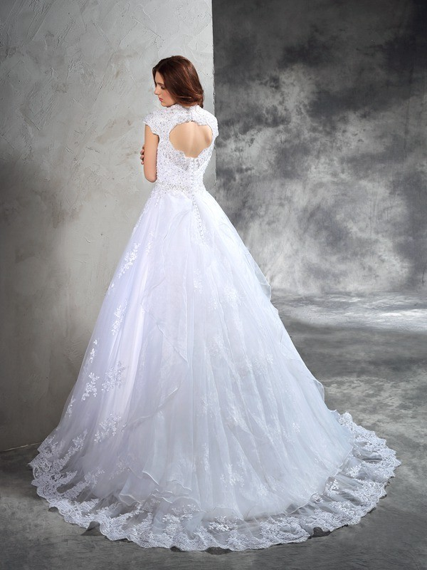Nice Ball Gown Sweetheart Lace Sleeveless Long Organza Wedding Dress