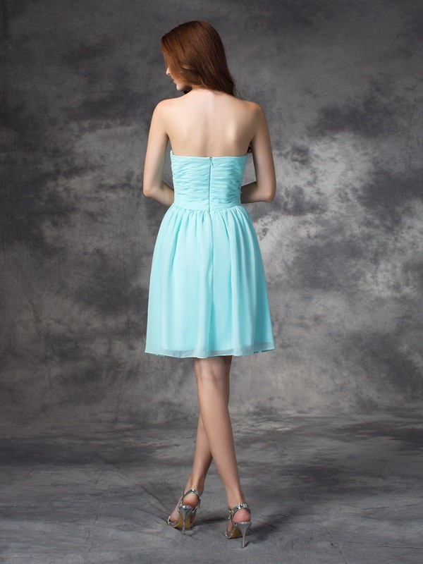 Nice A-Line Sweetheart Sleeveless Short Chiffon Bridesmaid Dress