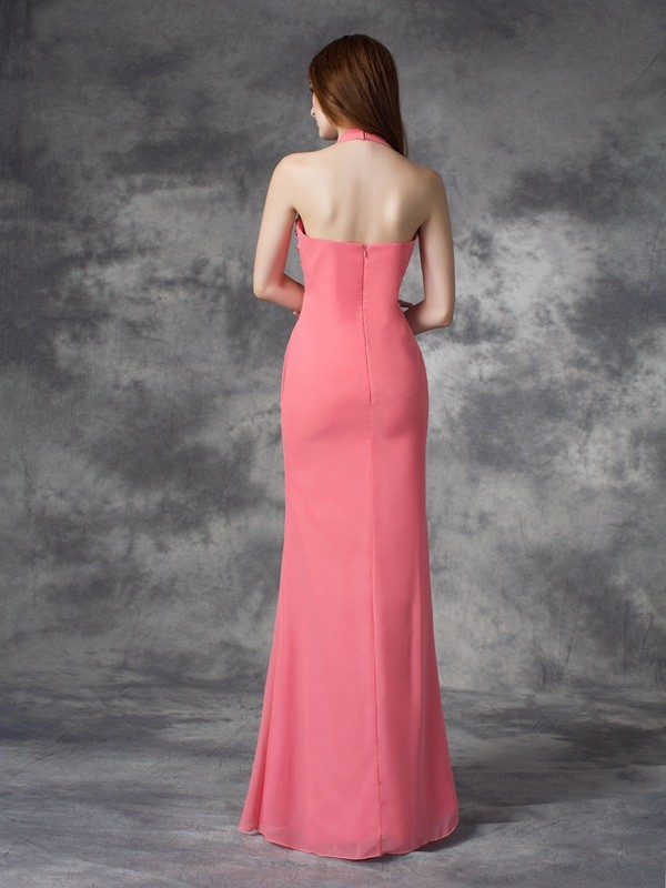 Nice Sheath Halter Sleeveless Long Chiffon Bridesmaid Dress