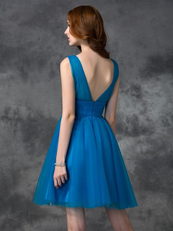 Nice A-Line V-neck Sleeveless Short Satin Bridesmaid Dress