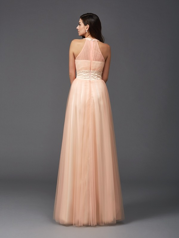 Amazing A-Line Halter Sleeveless Long Net Dress