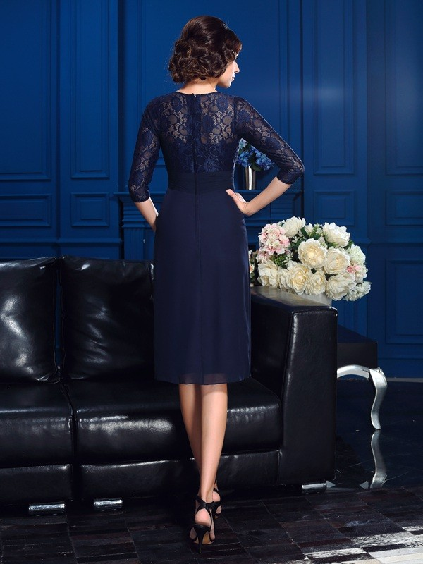 Amazing A-Line Jewel Lace 3/4 Sleeves Short Chiffon Mother of the Bride Dress