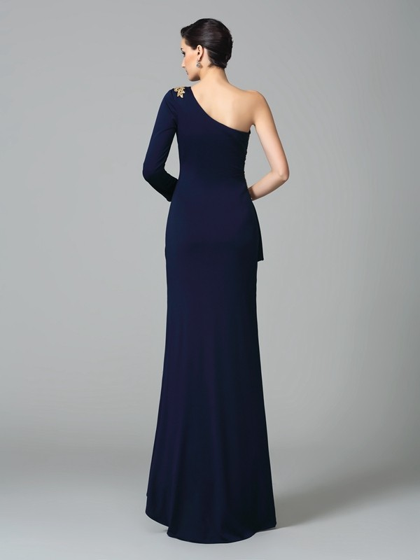 Glamorous Sheath One-Shoulder Long Sleeves Long Spandex Dress