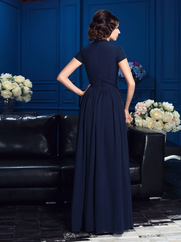Glamorous A-Line V-neck Short Sleeves Long Chiffon Mother of the Bride Dress