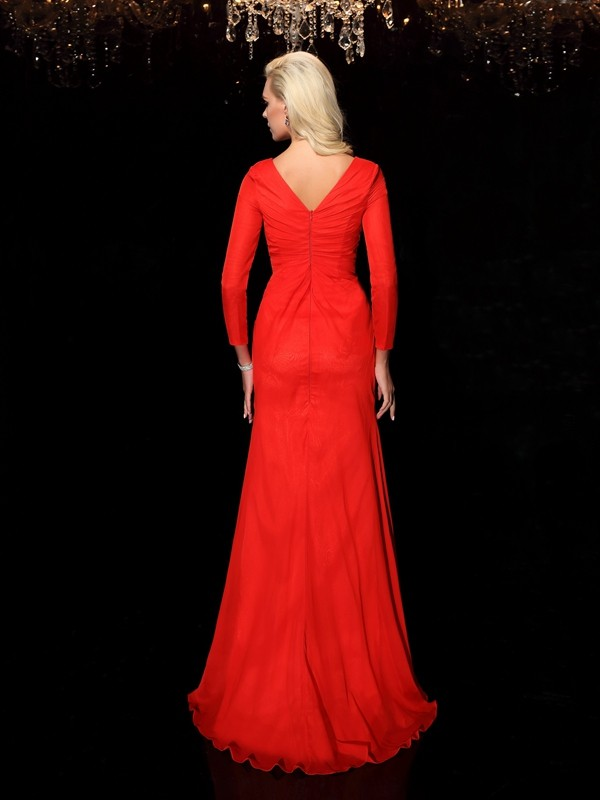 Glamorous Sheath Bateau Long Sleeves Long Chiffon Dress