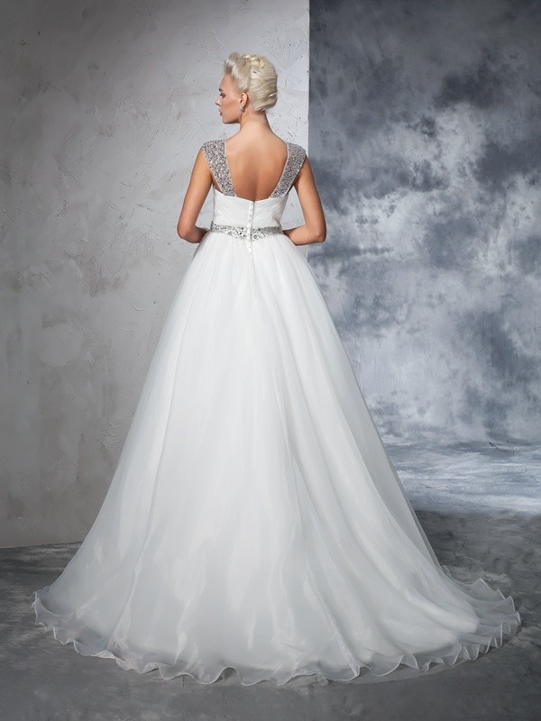 Glamorous Ball Gown Straps Sleeveless Long Net Wedding Dress