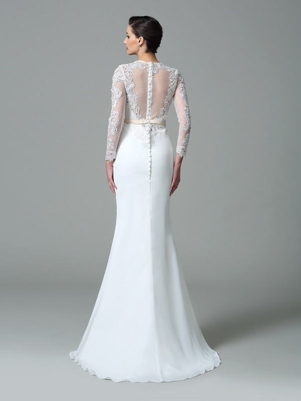 Glamorous Mermaid Jewel Lace Long Sleeves Long Satin Wedding Dress