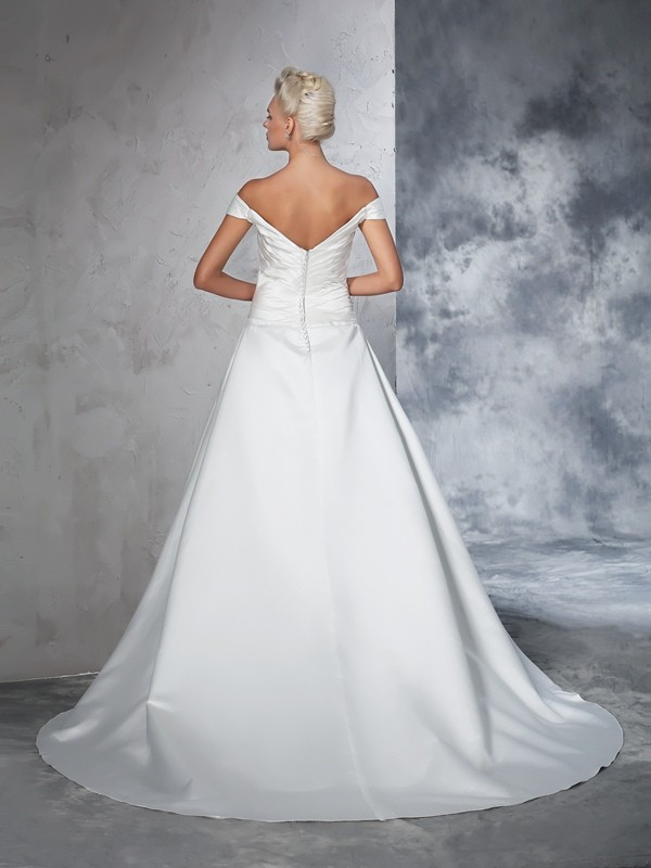 Glamorous Ball Gown Off-the-Shoulder Sleeveless Long Taffeta Wedding Dress