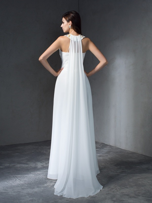 Glamorous A-Line Jewel Sleeveless Long Chiffon Dress