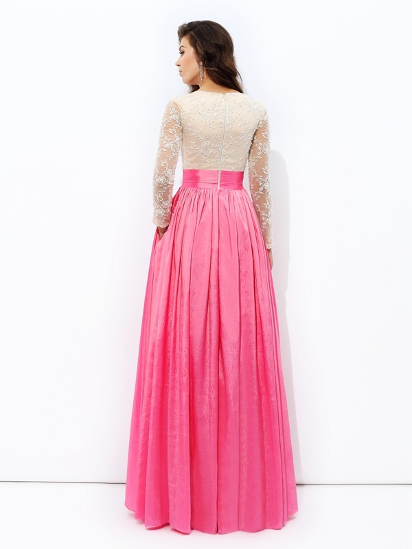 Glamorous A-Line V-neck Lace Long Sleeves Long Taffeta Dress