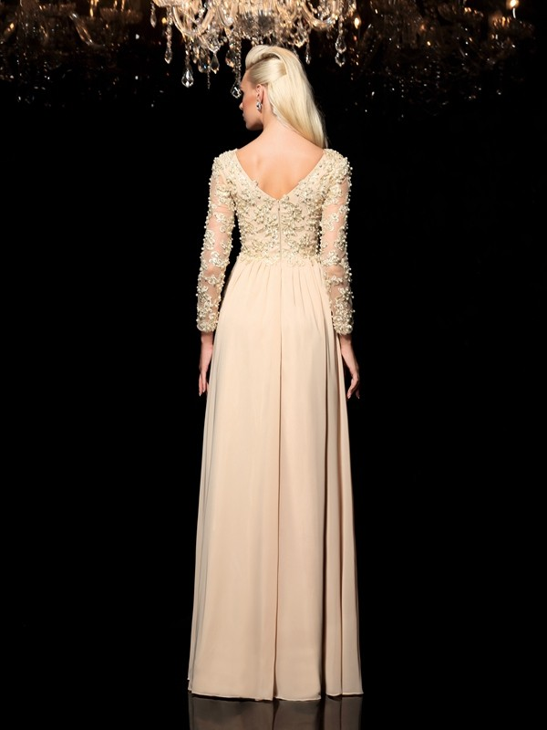 Glamorous A-Line V-neck Long Sleeves Long Chiffon Dress