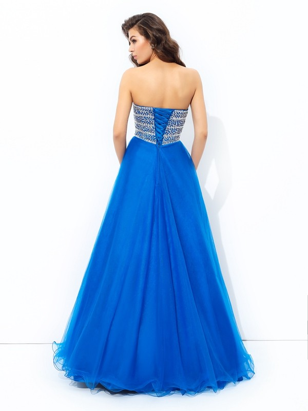 Glamorous A-Line Sweetheart Sequin Sleeveless Long Net Dress